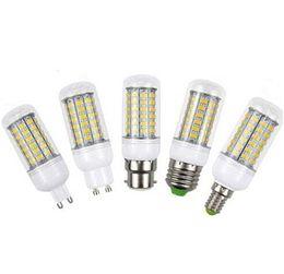 Wholesale Led Light E14 7w - IN stock SHIP E27 E14 B22 GU10 G9 E14 Led Light smd5730 7W 12W 18W Led Bulbs Corn Lights 360 Degree 24LEDs 36LEDs 48LEDs 56LED AC 85-265V