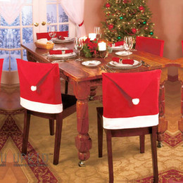 Wholesale Wholesale Table Cloth Christmas - 2017 christmas Chair Covers Santa Clause Red Hat for Dinner Decor Home Decorations Ornaments Supplies Dinner Table Party Decor 10pcs
