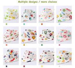 Wholesale Children Scarfs Triangle - 41X29CM Double Layer Safe Towl Colorful Baby Saliva Towel Baby Triangle Towel Cotton Newborn Double Button Bib Children Scarf Mix Design 01