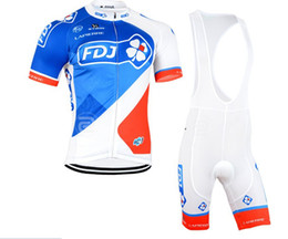 Wholesale Team Fdj - Wholesale-Can be mixed size 2015 FDJ Team Cycling jersey Riding Clothes Cycling short sleeve Bib Shorts suit Free Shipping