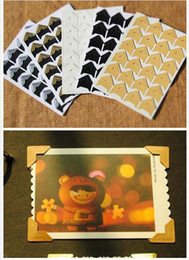 Wholesale photo corner stickers - 144 pcs lot (6 sheets) DIY Vintage Corner kraft Paper Stickers for Photo Albums Frame Decoration Scrapbooking GYH