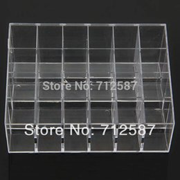 Wholesale Organizer Stand Holder - shipping Clear Acrylic 24 Lipstick Holder Display Stand Cosmetic Organizer Makeup Case # 9014