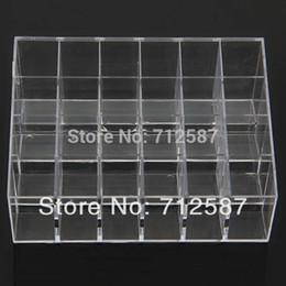 bague en plastique en chine Promotion Expédition Clear Acrylic 24 Lipstick Holder Présentoir Cosmetic Organizer Makeup Case # 9014