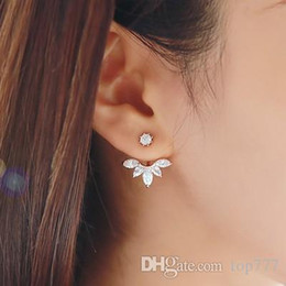 1016 Mode Earing Grand Cristal Rose Or Argent Oreille Vestes Bijoux Haute Qualité Feuille Oreille Clips Stud Boucles D'oreilles Pour Les Femmes Blanc Strass ? partir de fabricateur