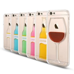 "Wholesale Blue Bottles For Liquid - Clear Case for iPhone 5 5S 6 4.7"" Plus 5.5'' Liquid Quick Sand Tall Red Wine Cocktail Glass Beer Mug Bottle Cup Transparent Back Cover"