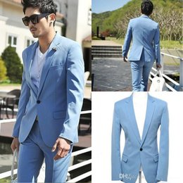 Wholesale 48 Suit Size - Custom Made Light Blue Fashion Groom Tuxedos One Button Men  Wedding Bridegroom  Groom Suits Classic Vintage Bussiness Plus Size Two piece