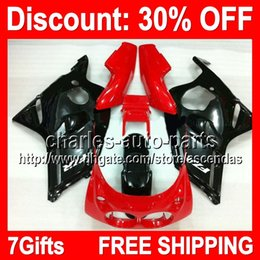 Wholesale Red Black Full Fairing Kit - 7gifts Red Black Full Fairing Kit For YAMAHA FZR400 86-88 FZR 400 FZR-400 86 87 88 1986 1987 1988 Glossy black red Fairings Bodywork Body Y#