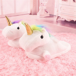 Wholesale Child Xmas - Unicorn Slippers Cute Cartoon Plush Shoes Indoor Warm Cotton Shoes for Unisex Winter New Slippers for Women Xmas Gift for children
