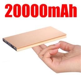 Wholesale Portable External Power Iphone - 20000mah Ultrathin Slim Power Bank External Emergency Battery power banks Portable Charger powerbank Flashlight For iphone 6s plus 7 Phones