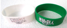 """Wholesale Coloured Wristbands - Attack On Titan Wristband, 1"""" Wide Band, Black Butler Silicon Bracelet, Promotion Gift, 2 Colours, 50 pcs lot, Free Shipping"""