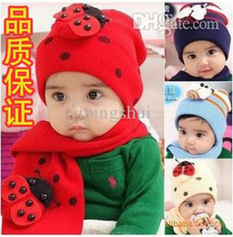 Wholesale Beatles Scarf - Wholesale-Child Baby autumn and winter unisex cute beatles scarf and hat sets (2pieces  set ) red Navy Blue 3colors , Free shipping