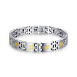 Wholesale Germanium Jewelry - Vintage health bracelets for men jewelry stainless steel Sanskrit Letter bracelet jewelry with Germanium material BR-079