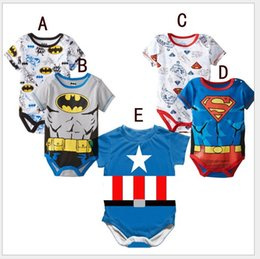 Wholesale Wholesale Character Onesies - Newborn Baby Romper Superman Batman Captain Toddler One-Piece Jumpsuit Kids Short Sleeve Summer Bodysuits Infants Onesies Climb Clothing
