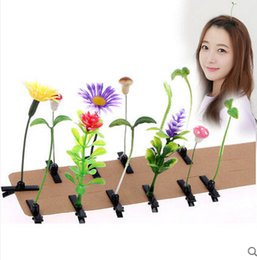 Wholesale Planting Bean Sprouts - New arrival Bean sprouts flowers hair clips Hairpin lovely Barrettes Women's multicolor xmas gift 100pcs lot