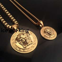 Wholesale gold necklace small - Hip Hop Medusha Headcount Pendant Necklace With Corn Chain 24K Gold Plated, big and small pendants hign quality and free shipping