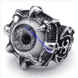 Wholesale Beautiful Mens Rings - Wholesale-Personality Gothic Vintage Fleur De Lis Rings Jewelry, Stainless Steel Cool Mens Monster Claw Beautiful Grey Eyes Eyeball Ring