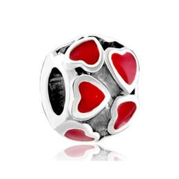 Wholesale Red Filigree - Valentine's Day Multiple Red Enamel Filigree Heart Love Charm European bead Fit Pandora Chamilia Biagi Charm Bracelet