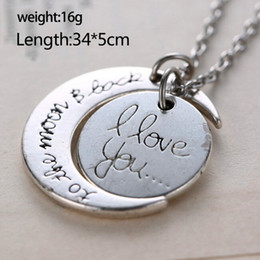 Wholesale Wholesales Best Friends Necklaces - High quality Charm Family Gift Personal 2015 New I Love You To The Moon & Back Best Friend Friendship Necklace