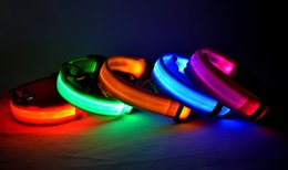 Wholesale Pet Supplies Harnesses - 7 Colors New LED Flashing Light Dog collar Pet Belt Harness Leash Tether dog supplies Safety Nylon Collar LED Collar LED Nylon Neck Strap