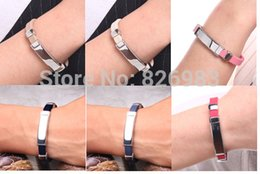 Wholesale Ionic Magnetic Sports - Wholesale-Free shipping Titanium Ionic Magnetic Energy Bracelet Power Hologram Sports Ion Balance Silicone Tourmaline bracelet Wristband