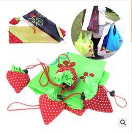 2019 sacchetto di shopping pieghevole 2016 Nylon Cute Strawberry Shopping Bag Reusable Eco-Friendly Shopping Tote Portable Folding Foldable Bags pouch Go Green OEM