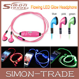 Wholesale Iphone Cuffie - LED Earphone In Ear Glow Headphones In-ear Growing Earphones Ecouteur Headset Auriculares Cuffie Audifonos for Mp3 Player