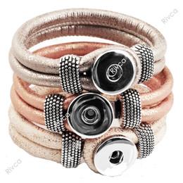 Wholesale European Cord Bracelet - F00227 newest Easy imitation leather rivca Button bracelet cord size 6mm for 18mm button3 pcs lot