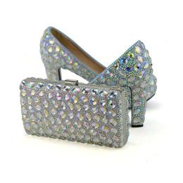 Correspondência sapatos de salto alto sapatos de embreagem on-line-AB Mulheres de Cristal Sapatos de Salto Alto com Embreagem Festa de Casamento Sapatos de Baile Saco de Harmonização Bonito Cinderella Prom Bombas Plus Size