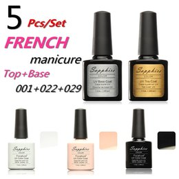 Wholesale Wholesale Gel Nail Polish Kits - Wholesale-French Packages Sapphire Nail Gel Polish French White Pink Black Color UV Lamp LED Soak Off French Tips Kit Top Coat Base Coat