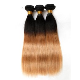 Wholesale Ombre Virgin Hair Extensions - Ombre Human Hair Extensions Virgin Brazilian Hair Bundles Weaves Two Tone Peruvian Indian Malaysian Mongolian Mink Weaving Hair Wefts 3-5pcs