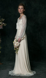 Vestido de boda de seda bordado online-Vestidos de boda de la vendimia 2016 de la gasa de seda bordada a mano de manga larga vestidos de novia barrido tren hueco espalda pura vestidos de novia personalizado