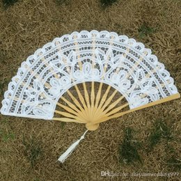 Wholesale Wedding Bridesmaid Hand Accessories - high quality lace wedding fans 2018 bridal accessories wedding wood folding hand fans for bridesmaid wedding guests