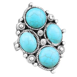 Wholesale alloy antique rings adjustable - Wholesale-Vintage Look Tibetan Alloy Antique Silver Plated Cross Flower Tail Four Real Round Turquoise Adjustable Ring TR235