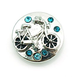Wholesale bike charms - Fashion Noosa 18mm Snap Buttons Charms 3 Color Rhinestone Bike Ginger Clasps Interchangeable DIY Jewelry Accessories NKC0042