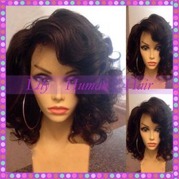 Wholesale Long Black Bob - Side Part Glueless Bob Lace Front Wigs 100% Virgin Brazilian Short Full Lace Human Hair Wigs For Black Women With Baby Hair