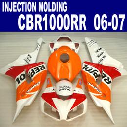 Wholesale Orange White Motorcycle Fairings - Injection molding freeship motorcycle fairing kit for HONDA 2006 2007 CBR1000RR 06 07 CBR 1000 RR white orange REPSOL fairings set VV36