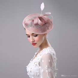 Wholesale Champagne Hair - 2017 Women Bridal Hat Linen with Feather Lady Chic Fascinator Hat Cocktail Wedding Party Church Headpiece Hair Accessories