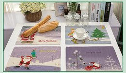 stuoie da tavolo in cotone Sconti Tovaglietta da tavola in cotone e lino Tovagliolo da tavola Christmas Carnival Snowman Xmas Tree Pattern Decorative Kitchen Table Mats