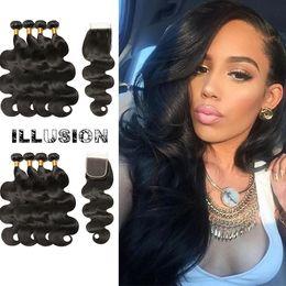 Wholesale Indian Remy Hair Wholesale Wig - Virgin Human Hair 4x4 Lace Closure Brazilian Body Wave Brazilian Hair 4Bundles Remy Human Hair Wigs For Black Women