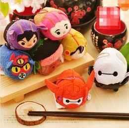 Wholesale Armor Wipes - 7pcs set Tsum Tsum Mini Hero Red Armor Baymax Hiro Gogo Honey Wasabi Fred Pedant Doll Plush Stuffed Kid toy Phone Screen Wipe