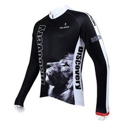 Wholesale Discovery Cycling Jersey Long Sleeves - Wholesale-New Arrival Men 's Discovery Lion Long Sleeve Jerseys Cycling Bicycle Sport Clothing Jacket Top Shirts Black Free Shipping