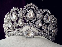 Wholesale Pageant Queen Jewelry - Huge Bridal Tiara Crowns Crystal Bridal Hair Jewelry Rhinestone Queen Pageant Prom Headband Bridesmaid Wedding Hair Accessories