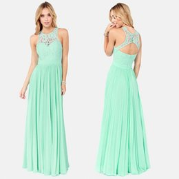 Wholesale Tank Strap Long Prom Dresses - Mint Bridesmaid Dresses Cheap 2015 Hot Sale Tank Straps Lace Jewel Neck Evening Gowns Floor Length Formal Long Chiffon New Style Prom Dress