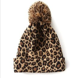 Wholesale Knitted Hats Big Ball - Wholesale-2015 korean version of the new autumn and winter fashion wild leopard warm knit wool hat big balls hedging pointy hat HT075