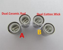 Wholesale double glass vase wholesale - In Stock!!! Dual wax coils for cannon vaporizer atomizer double coil DCT Cax oil Ceramic rod Cotton wax Glass vase Skull Bowling cartomizer