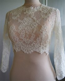 Wholesale Apricot Lace Dress - Hot Cheap Bridal Wraps Modest Alencon Lace Crystals Long Sleeves Wedding Bridal Bolero Wedding Dresses Custom Made Sheer Lace Applique