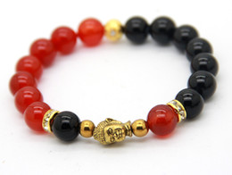 Wholesale Lucky Bracelets For Men - New Bracelets for Men and Women Hot Sale 10mm Natural Blue, Black, Red Agate Beaded Buddha Bracelets Ethic Lucky Jewelry