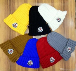Wholesale Cotton Caps For Women - Newest Unisex Spring Winter brand MON casual Colorful knitted hat for men and women Gorros fashion sports beanies skull caps outdoor hats