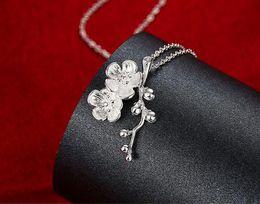 2019 prune d'argent 10% de réduction sur la mode bijoux en argent 925 prune fleur collier pendentif Top qualité 10pcs / lot prune d'argent pas cher