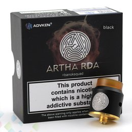 Wholesale Free Construction - Vape Advken Artha RDA Atomizer 24mm Stainless Steel Construction 2 Colors Fit Bottom Feed Box Vapor Mod E Cig DHL Free